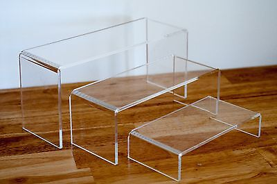 HOT DEAL Set of 3 Display Riser 5MM CLEAR Acrylic 9cm Wide [ OZ SELLER ] 91226-3