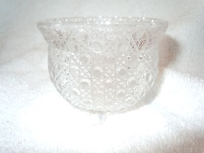 Vintage Small Pressed Clear Glass Candle Round Holder
