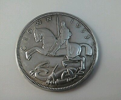 A good 1935  .500 silver Rocking horse crown George V  Nice detail.