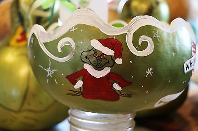 Grinch Gourd Bowl My best seller!! Signed. Handpainted. SO fun!!