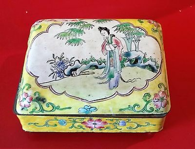 Antique Chinese Hand painted Enamel over Copper Box 19th century.