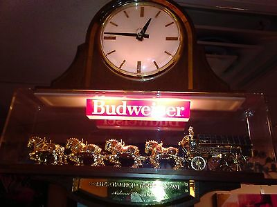 Vtg Budweiser Beer Clydesdale Clock Light Up Sign Double Sided Working Beer Sign