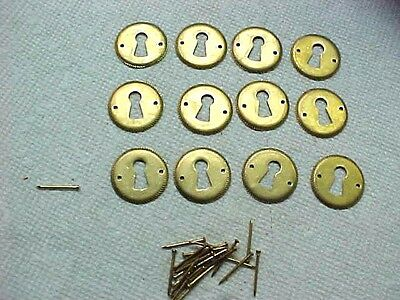 12  Stamped Brass Key Hole Drawer Escutcheons With Pins Repro 1970's