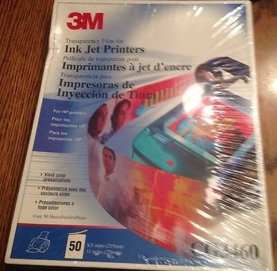 New Sealed 3M CG3460 Transparency Film For Ink Jet Printers 50 Sheets For HP