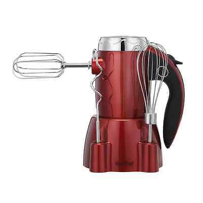 VonShef 250W 6 Speed Hand Mixer Whisk with Stand includes 2 Dough Hooks & 2 Beat