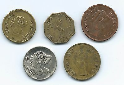 5 Different Heads & Tails Adult Flipper Coins