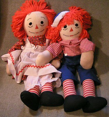"Vintage Raggedy Ann & Andy 23"" Dolls Yarn Hair"