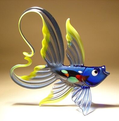 Blown Glass Figurine Art Blue and Yellow FISH with an Arched Tail