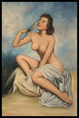 """100% Handcraft Art Portrait Oil Painting On Canvas """"24X36"""" inch:Female Nude-002#"""