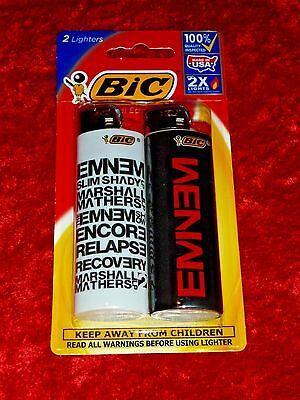 BIC Special Edtion 2x Lighters!! Eminem Design! Factory Sealed! NICE!