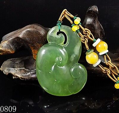 100% Natural Hand-carved Chinese Icy Jade Pendant jadeite Necklace Ruyi 0809