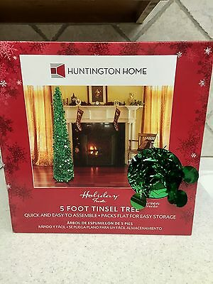 """5' Tinsel Christmas Tree w Stand Holiday Green Collapsible 5' x 12"""""""