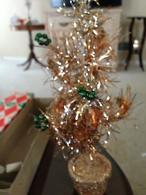 "VINTAGE 11"" HOLT HOWARD Tinsel Tree with Green Ornaments in ORIGINAL BOX"