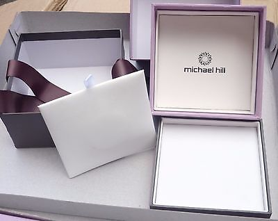 MICHAEL HILL 2 PC Watch Bangle Bracelet Double Gift Box + Ribbon 11 x 11 x 5.5cm