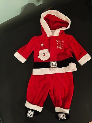 Boys/Girls 0/3m 2 Pc Christmas Footed SANTA SUIT/SANTA'S LIL BABY Outfit VEUC!