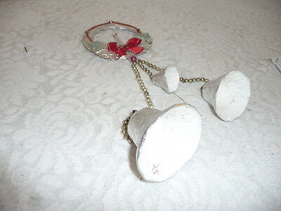 Vintage Christmas Bells Foil With Wreath And Candle Mercury Glass Beads