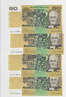R513 $50 Fraser/Cole  Twin Set of Four Notes Unc