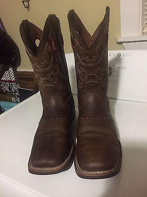Mens Brazos Brown Leather Boots Size 8.5M