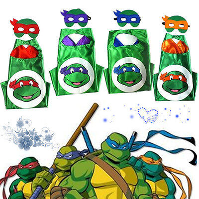 Superhero Cape (1 cape+1.. mask) for kids birthday party favors  Ninja Turtles