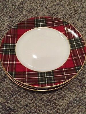 "New 222 Fifth Wexford Red Plaid 4 Christmas Tartan Dinner 10 1/2"" Plate Dish"