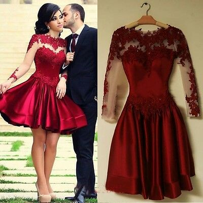 New Short Formal Evening Prom Gowns Long Sleeve Appliqued Cocktail Party Dress