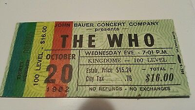 The Who 1982 It's Hard Tour Concert Seattle Kingdome Ticket Stub