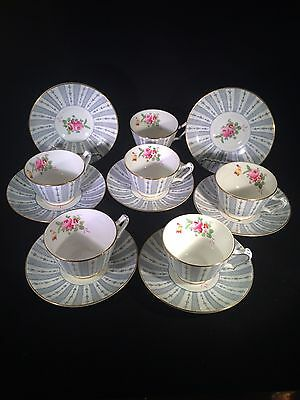 Crown Staffordshire F9213 Fine Bone China Cup and Saucer Set of 6