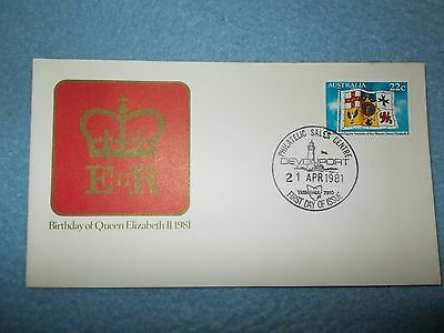 BIRTHDAY OF QE 11 1981 First day of Issue. Devonport 21 April 1981 with Stamp