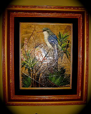 """Original Oil Painting Of Exotic Birds On Leaves Signed By """"Gris"""" 15x13"""