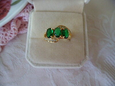 Antique Vintage Gold Dress Ring with trio of Emerald Green stones size O