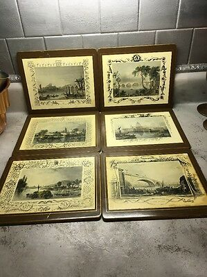 Vintage Set of 7 LADY CLARE Hard Placemats Victorian  British scenes
