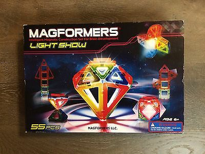 Magformers Light Show 55-Piece Magnetic Construction Set, LED Lighted - NEW