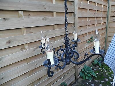 Gothic Wrought Iron Medieval Chandelier - Four Bulb Holders