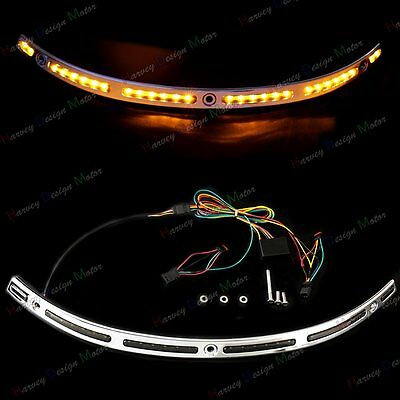 LED Illuminated Windshield Chrome Trim For Harley Touring Electra Glide 14-18