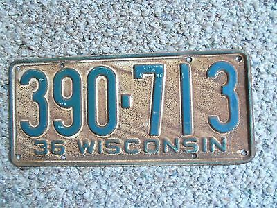 1936  Wisconsin  License Plate  1936 Ford ? 1936 Chev ? 1936 Plymouth  ?