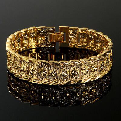 """Solid 24K Yellow Gold Filled Mens Bracelet Cuff Bangle Chain Wristband 7.87"""""""