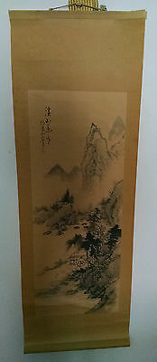 Beautiful Vintage Asian Landscape Scroll Painting, Signed with Seals
