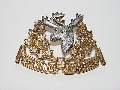 Canada WW1 CEF Cap Badge OFFICER'S 16th Canadian Light Horse Gilt with silver