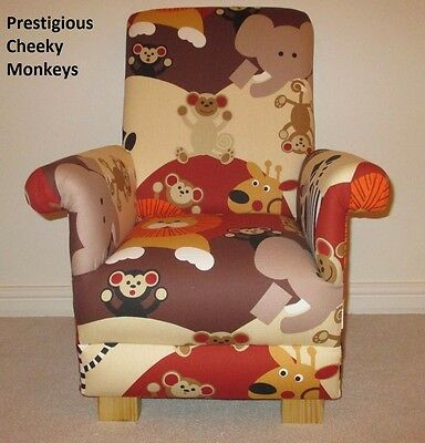 Kids Armchair Animals Chair Prestigious Cheeky Monkeys Fabric Children's Lions