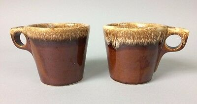 Hull Oven Proof USA Mugs Cups  Brown  Drip Glaze Vintage Lot of 2