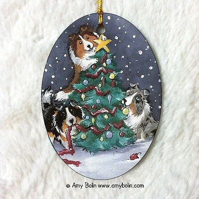 SHELTIE SHETLAND CERAMIC Oval ORNAMENT by Amy Bolin CHRISTMAS TOGETHER