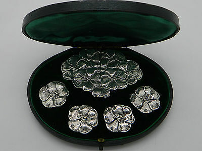 1905 - Cased Set of Sterling Silver Edwardian HM Floral Belt Buckle & Buttons