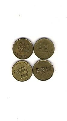 Group Of  Four Brass  Metal National Transport Tokens