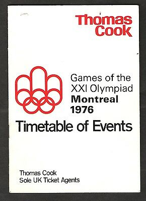 1976 Olympic Games Montreal.  Thomas Cook.  Timetable Of Events