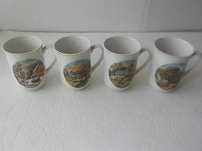Set of 4 Vintage Currier & Ives China Mugs Cups 4 Seasons