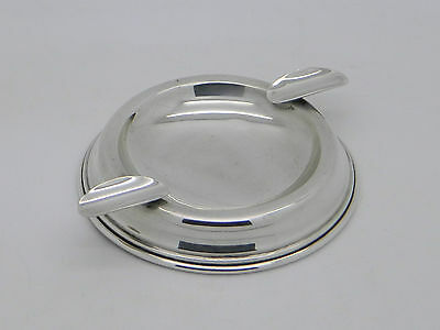 1930 - Solid Sterling Silver Hallmarked Rounded Ashtray - Walker & Hall - B'ham