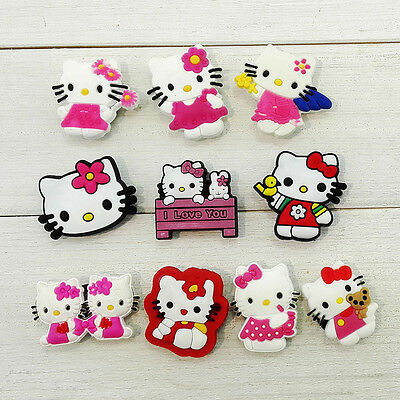 100pcs Lovely Cat PVC Shoe Charms Accessories Fit for Cro c&J ibbitz Kids Gift