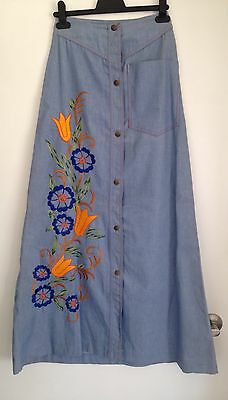 Denim 1970s Mexican boho embroidered maxi skirt