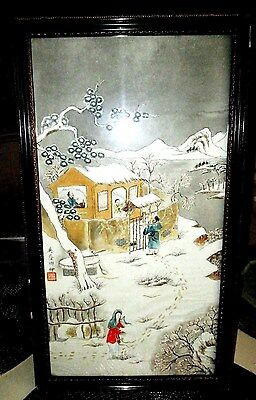 Vintage c1800`s Original Chinese Parchment Painting Signed And Framed