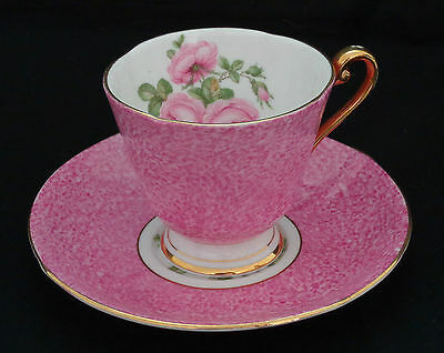 ROSLYN, BONE CHINA DEMITASSE CUP & SAUCER, PINK/WHITE w CABBAGE ROSES.